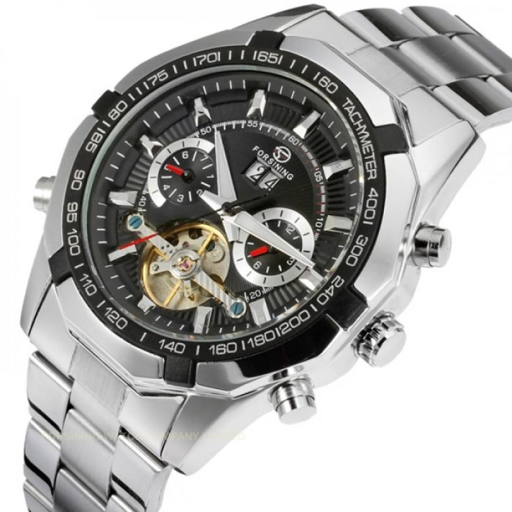 Мужские классические механические часы Forsining Texas Silver 1047