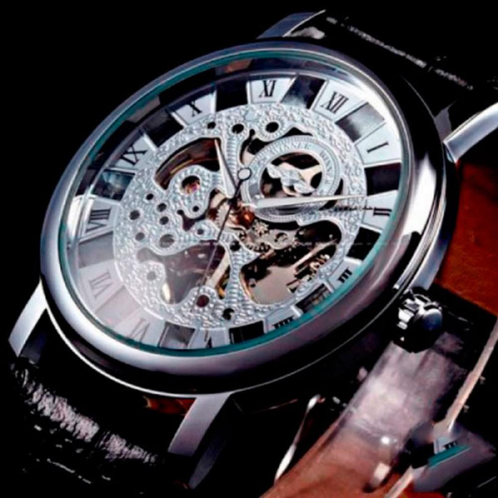 Мужские часы скелетон механические Winner Silver 1115