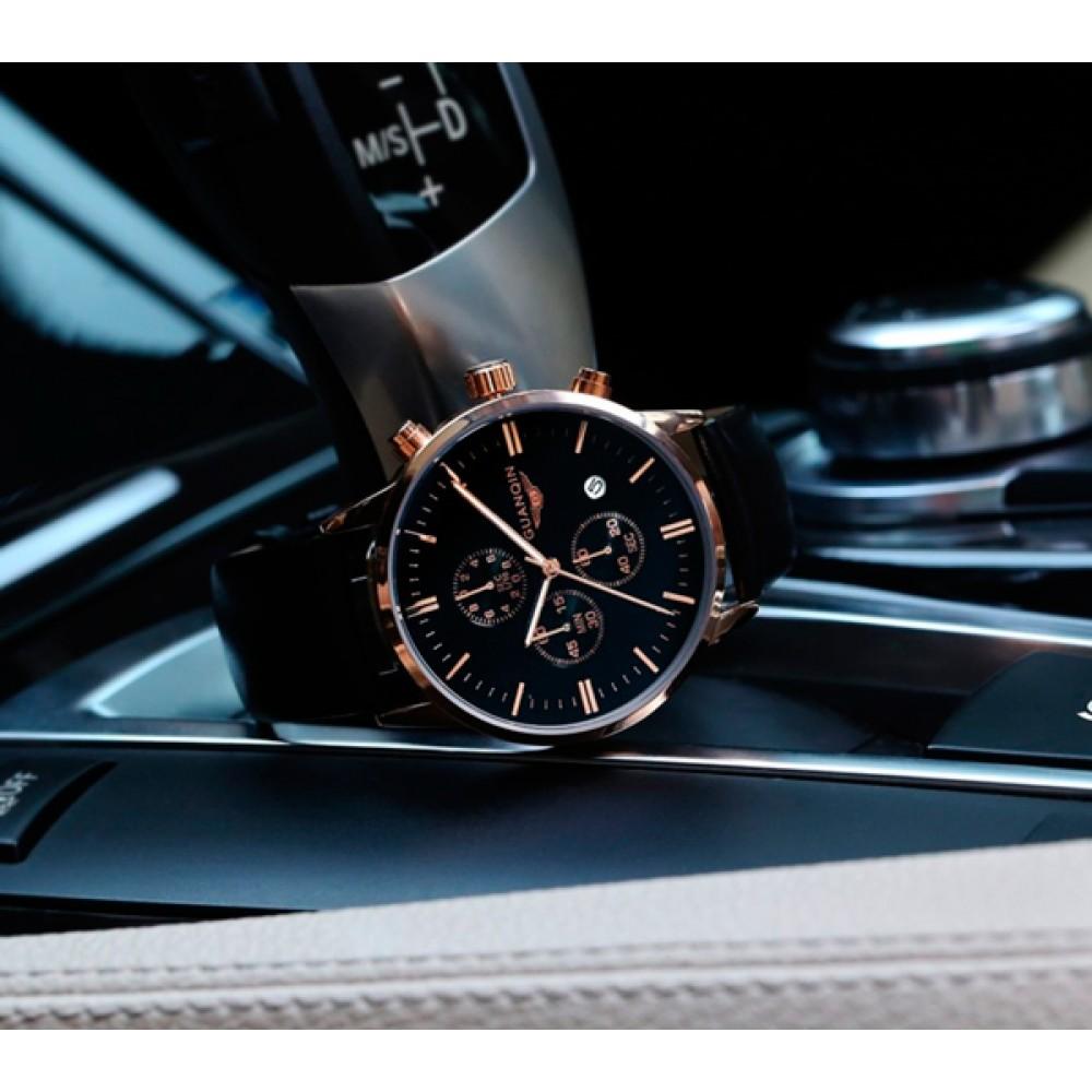 Мужские классические кварцевые часы Guanquin Digit Black 8801