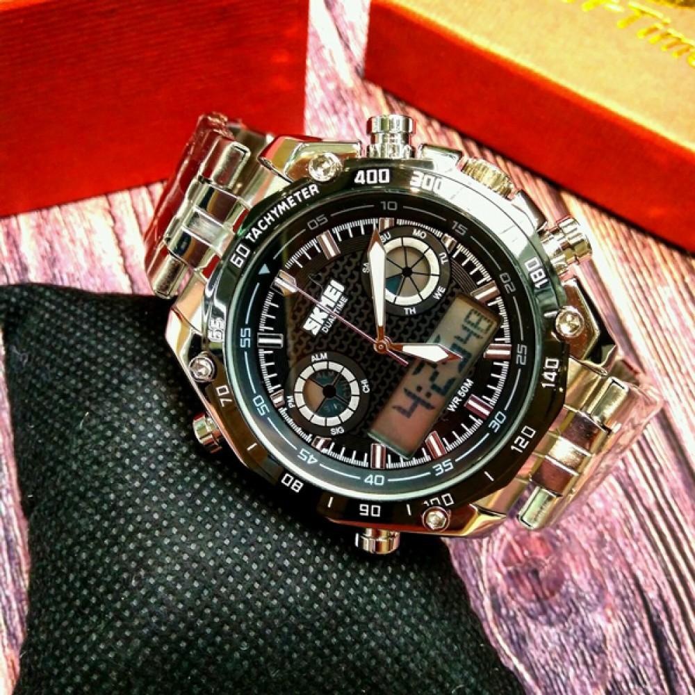 Спортивные мужские наручные часы Skmei Silver 1204