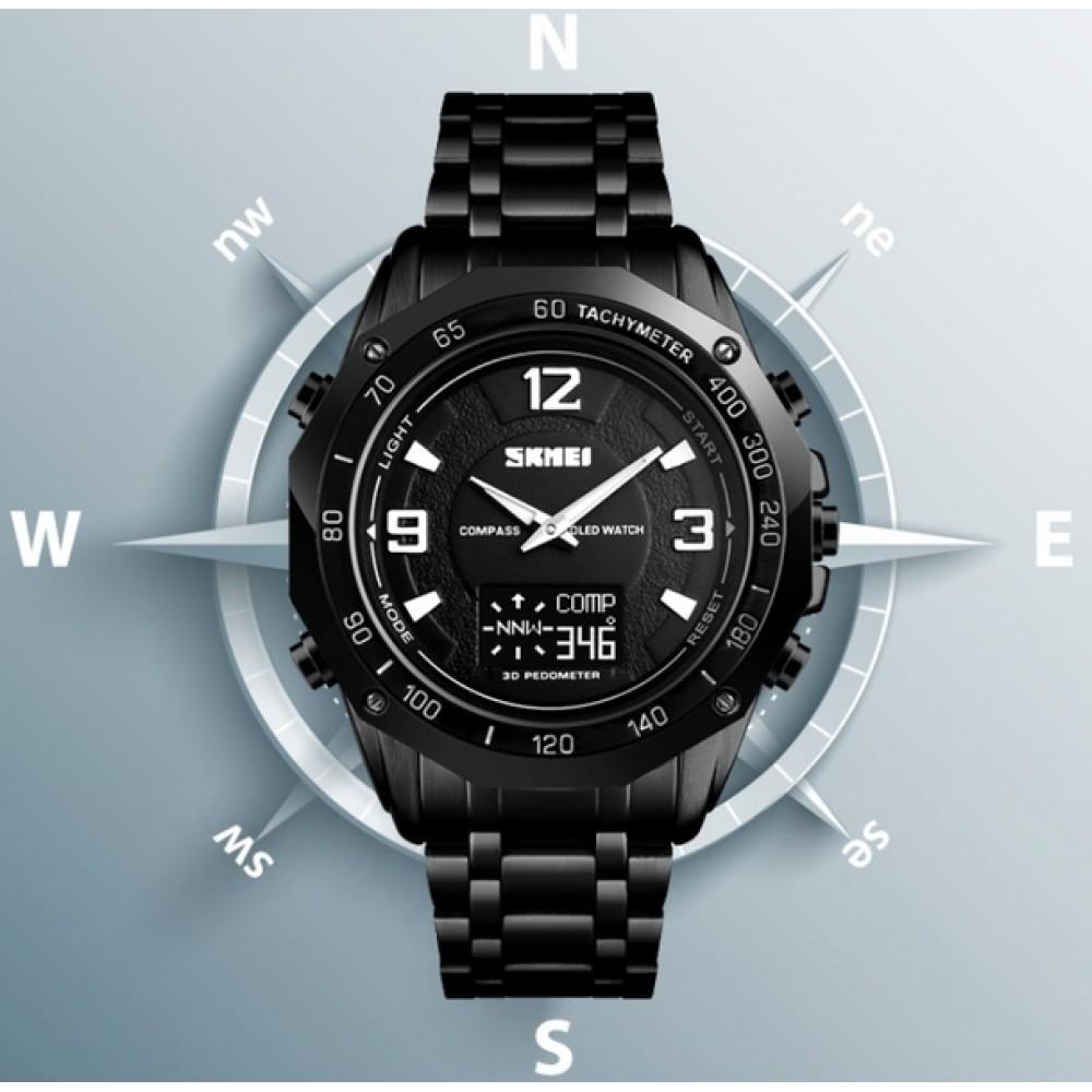Мужские часы Skmei Kompass PRO Black ударостойкие