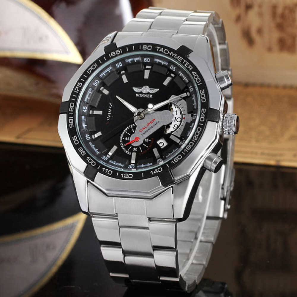 Мужские классические механические часы Winner Titanium Silver 1038