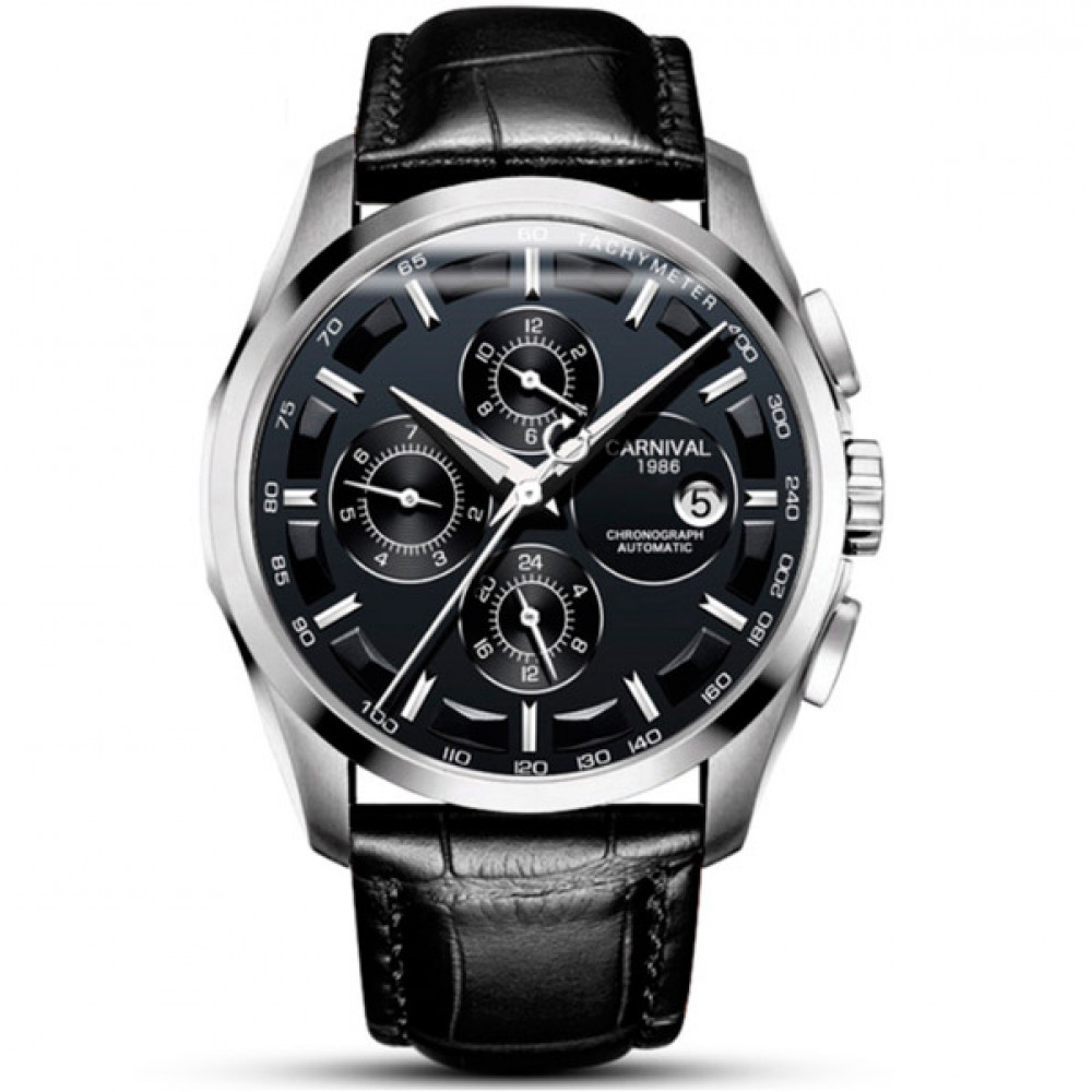 Мужские классические механические часы Carnival Genius Black 8705