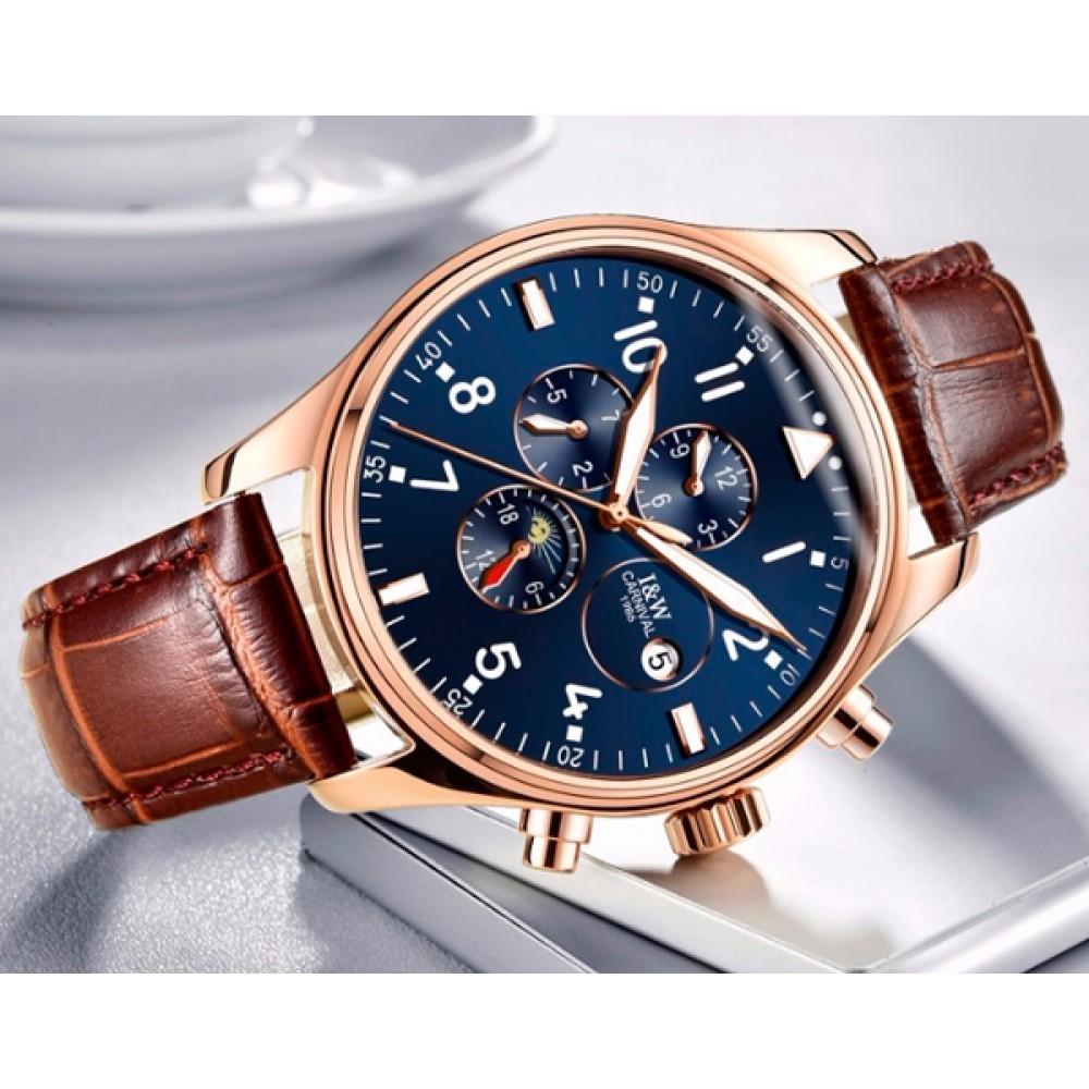 Мужские классические механические часы Carnival Grand Brown 8701