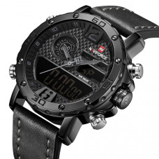 Мужские спортивные кварцевые часы Naviforce Next Black 9134