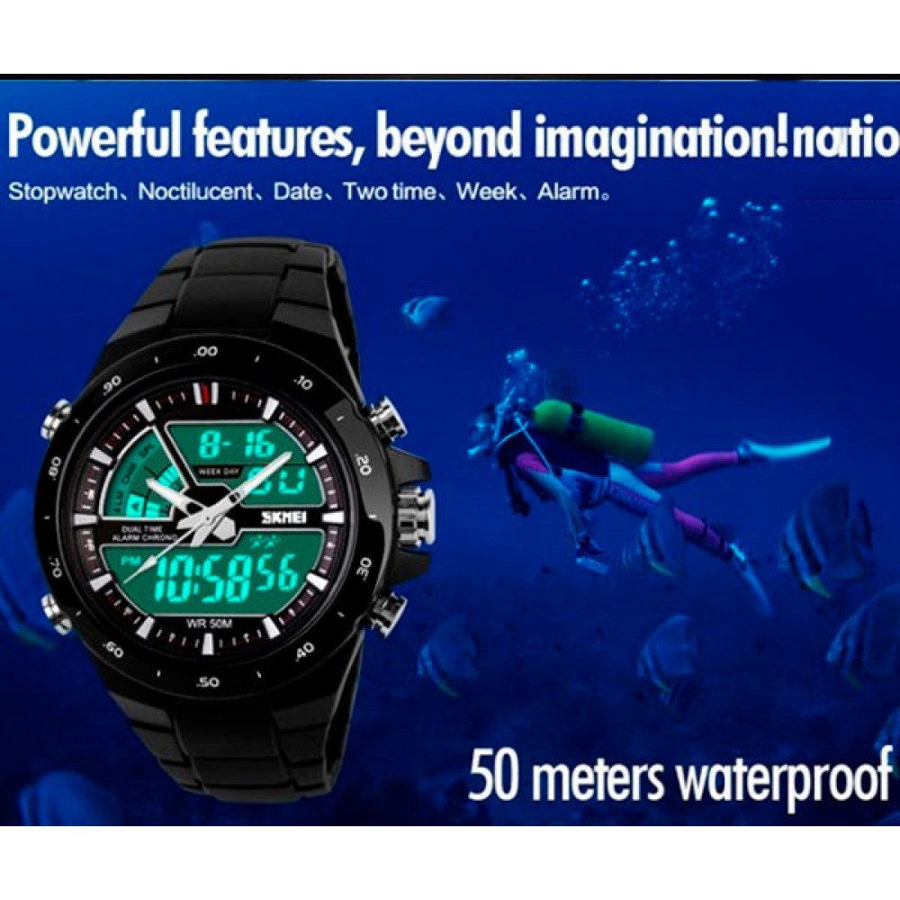 Мужские часы Skmei Shark Black 1016