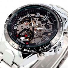 Мужские классические механические часы Winner Action Silver 1535