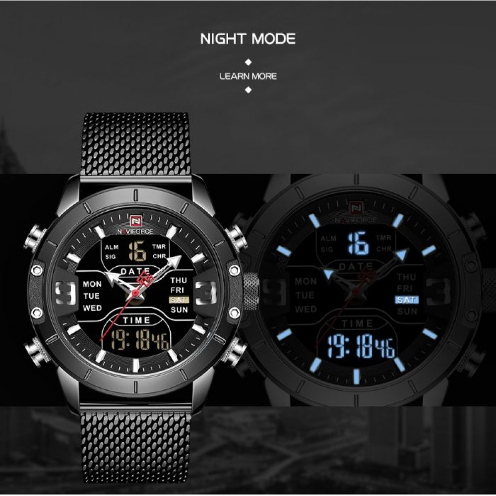 Мужские часы Naviforce Tesla Black NF9153
