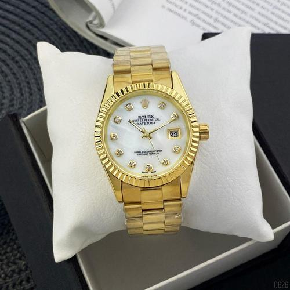 Rolex Date Just Gold-White Pearl