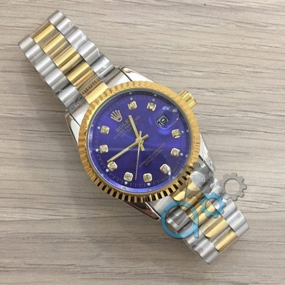 Rolex Date Just 067 New Silver-Gold-Blue