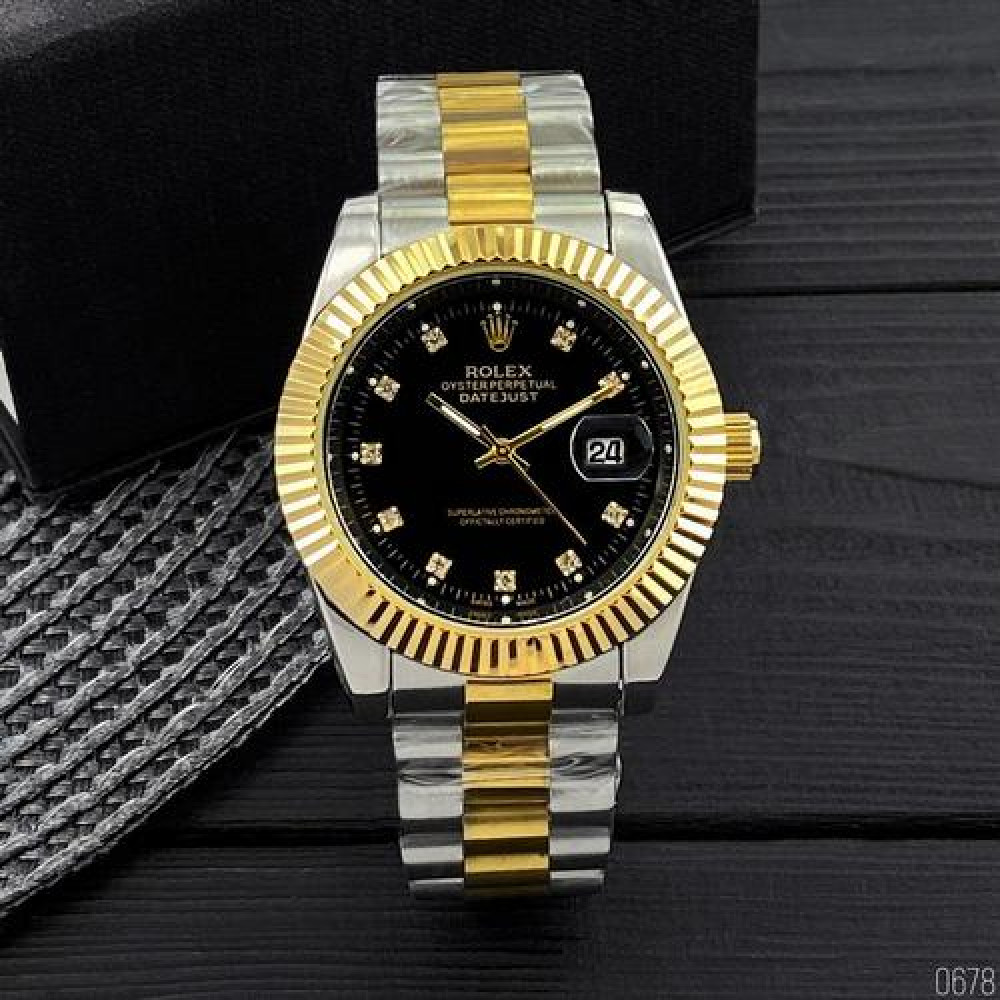 Rolex Date Just New Silver-Gold-Black