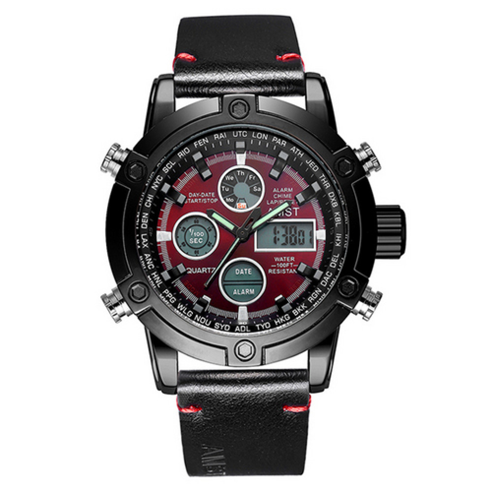 AMST 3022 Black-Red Smooth Wristband