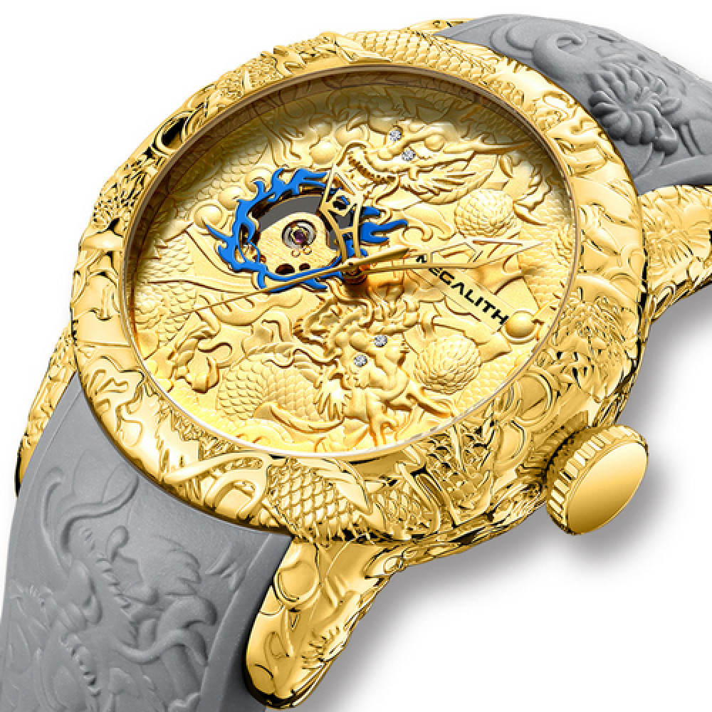 Megalith 8041M Gold-Gray Dragon Sculpture